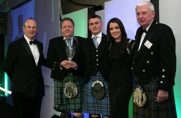 Kenny & Stuart of McCallum Bagpipes receive first prize at the Business Excellence Awards for Ayrshire