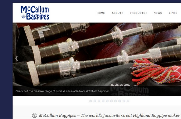 The brand new McCallum Bagpipes website