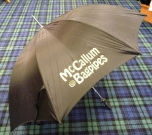 Black Golf Umbrella Gold Logo
